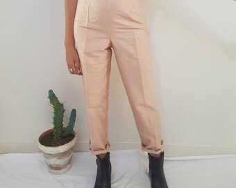 Pale Pink Tailored Trousers// Vintage Cropped Pants // 100% Silk // Womens 90s Size 8