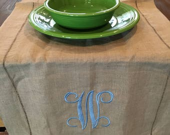 Monogrammed Linen Table Runner, Embroidered Table Runner