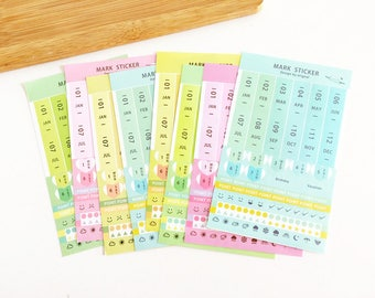 8 Sheets Gradient Planner Sticker Set Korean Stationery Rainbow Index Stickers Accessories Deco Diary Stickers