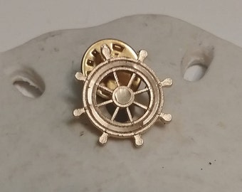 Gold Tone Ships Wheel Lapel Pin