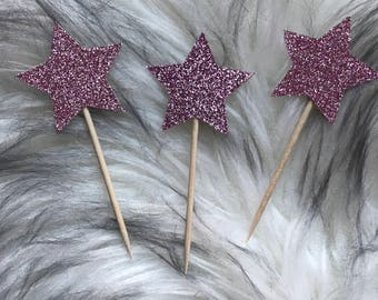 Set of 12 Star Cupcake Toppers, birthday party, star themed party