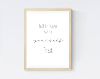 Love yourself print, modern typography art, motivational poster, office room decor, teen wall art,  bedroom wall art, positive quotes art