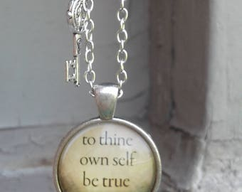 To Thine Own Self Be True Shakespeare Cabochon Charm with Charm Necklace  12 Step AA