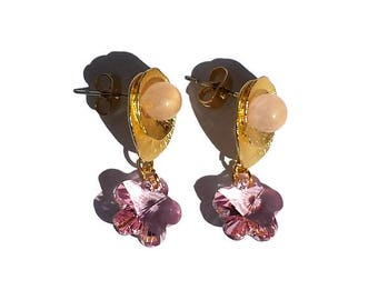 Gold metal earrings Rose Quartz and light pink flowers-Swarovski golden earrings-earrings-Crystal Earrings