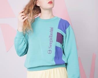 80s 90s sweatshirt size M, sergio tacchini, colorblock colorful sweatshirt, teal vintage minimal retro sweatshirt pullover