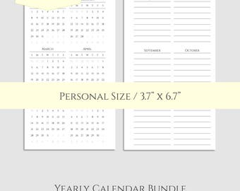 "Yearly Calendar Bundle ~ 2017 & 2018 Year-at-a-Glance, Important Dates to Remember, Birthday Tracker ~ Personal / 3.7"" x 6.7"" PDF Download"