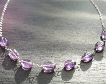 Oval Amethyst and silver necklace