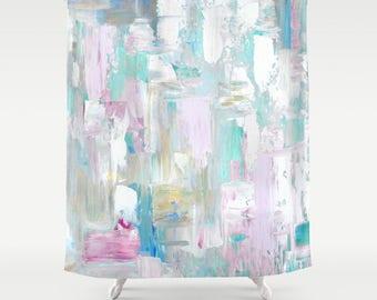 Abstract Shower Curtain, Art Shower Curtain, Blue beach curtain - FREE Shipping -