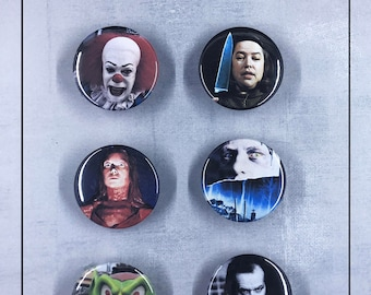 """Stephen King Villains 1.5"""" Button Set - Pennywise, Misery, Carrie, The Shining"""