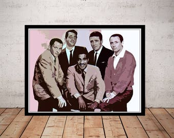 Rat Pack Print, Frank Sinatra, Dean Martin, Canvas Option, Cool Sinatra Poster, Music Room Art Decor, Retro Art, Ol Blue Eyes Fan, Pop Art
