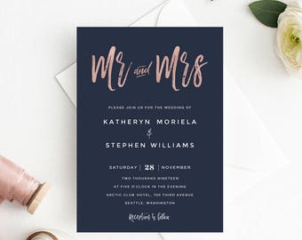 Navy Blue & Rose Gold Wedding invitation, Mr and Mrs Wedding Invitation Template, Modern Calligraphy Wedding Invitations PDF Navy Template