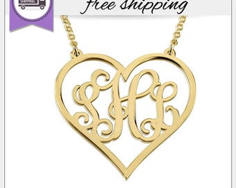 FREE SHIPPING* Gold Heart Monogram Necklace • Personalized Monogram Necklace • Custom Jewelry • Bridesmaid Necklaces • Gift for Her GPN1068