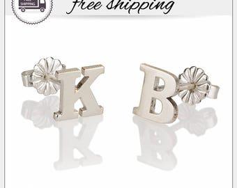 Letter Stud Earrings, Personalized Earring, Initial Stud Earrings, Custom Earrings Stud, Silver Letter Earrings, Alphabet Stud Earrings