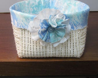 Charming shabby chic unique handmade fabric basket with matching flower