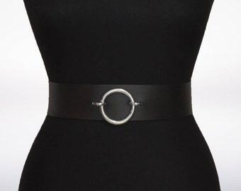 Leather Belt, Ring Belt, Wide Belt, Belt, Genuine Leather