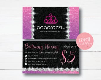 Paparazzi Business Cards, Free Personalized, Paparazzi Jewelry Consultant Card, Ombre Sequin, For Vistaprint or Home Printing