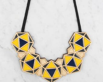 Minimalist Necklace / Geometric Bib - Navy / Yellow / Dark Grey / Statement Necklace / Contemporary Necklace