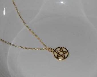 Gold Pentagram Necklace, Pentacle Necklace, Wicca Necklace, Wicca Jewelry, Pagan Necklace, Pagan Jewelry, Small Gold Pentacle Necklace