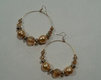 Gold Glass Bead Hoop Earrings With Gold And Silver Accents