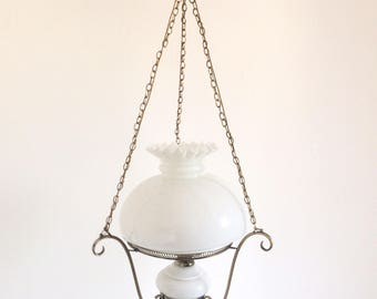 Chandelier in brass and opaline from the 1950's