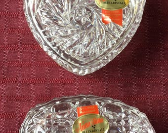 2 Vintage Anna Hutte Bleikistall 24% pbo Lead Crystal Covered Trinket Boxes