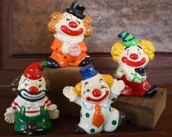 Set of Four Vintage Enesco Clown Figurines