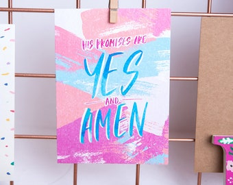 His Promises are Yes & Amen / Postcard
