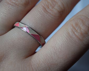 Pink and white ring