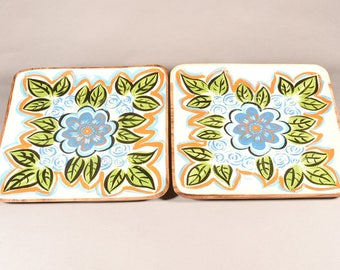 Anemone - Hand painted solid Wood Trays (Set of two)