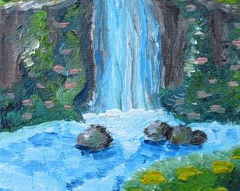 original Waterfall 11x11 oil painting print, wall art, home decor, nature, nature print, waterfall painting, waterfall poster, modern art