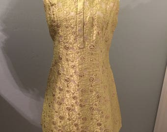 Vintage Hong Kong made Brocade Mini  Dress