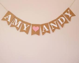 Personalised wedding bunting, Wedding decoration, Engagement bunting