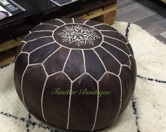 pouf,leather pouf,moroccan handcrafted leather pouf, ottoman leather pouf