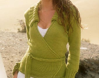 Cardigan wrap green cardigan pistachio knitted jacket knitted sweater pink blue black cardigan cotton jacket CHOICE of COLORS  Drops Lilith