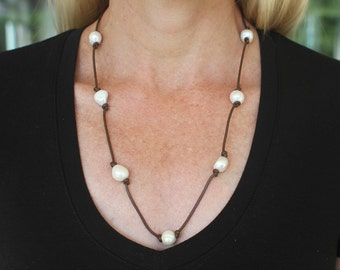 Terri Necklace/Bracelet (Pearl, Leather, Wrap)