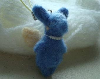 Needle felted blue tapir fairy plush keychain