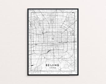 Beijing City Map Print, Clean Contemporary poster fit for Ikea frame 24x34 inch, gift art for him her, Anniversary personalized travel