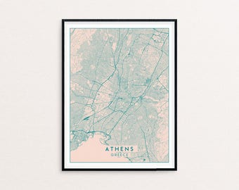 Athens Blush Pink City Map Print, Clean Contemporary poster fit for Ikea frame 50x70cm, gift art him her, Anniversary personalized