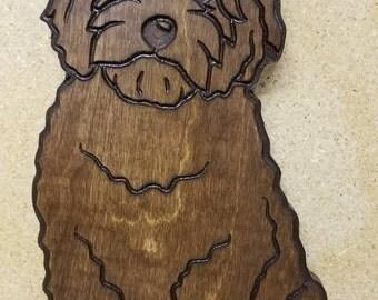 Golden doodle dog carving sign