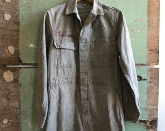 1940's Small/Medium Salt & Pepper Coveralls by Freeland Overall Manufacturing Co. Union Made