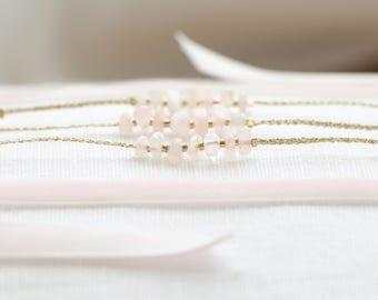 Head jewelry ROSE QUARTZ, 14K gold plated beads on gold wire & velvet Ribbon