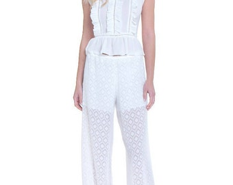 White Fabulous Laced Trousers