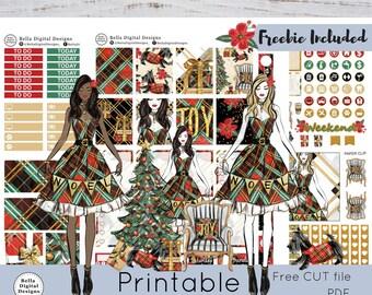 Noel printable planner stickers. Erin Condren and Happy Planner weekly kit. Glam Christmas girls, tree. plaid, winter.