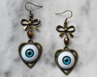 earrings cameo planchette ouija eyeball eye doll blue 3d bronze gothic occult pagan esoteric spiritism magic witch witchcraft witchy dark