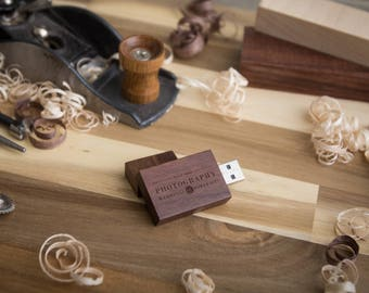 Thick Walnut Wood USB Flash Drive - Personalized USB - Custom USB Flash Drive