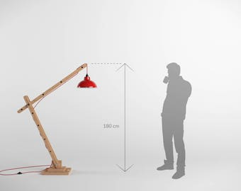 Articulated 180cm wooden architect lamp