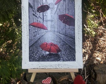 Paris artwork picture red umbrella picture art office gift water drop effect no glass painting 3D rain drops mother gift wall paris wall art
