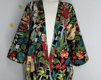 Frida Kahlo's Kimono Nature garden Mexico flowers fashion cotton robe clothes