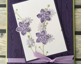Purple Floral Spray Any Occasion Greeting Card