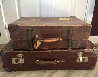 Stack / Pair of Vintage Suitcases - great alternative storage or prop